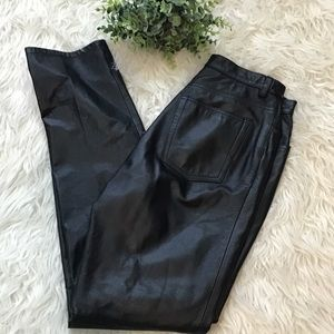 Vintage Black Leather Straight Leg Pants